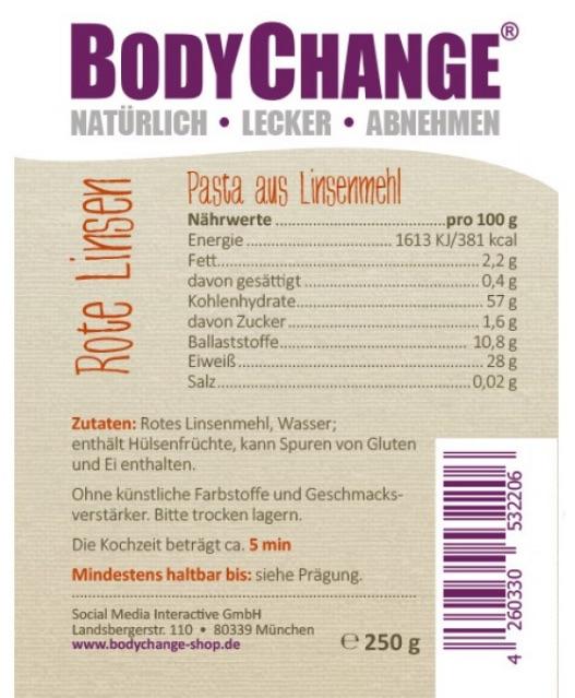 BodyChange Linsennudeln (Linisini)