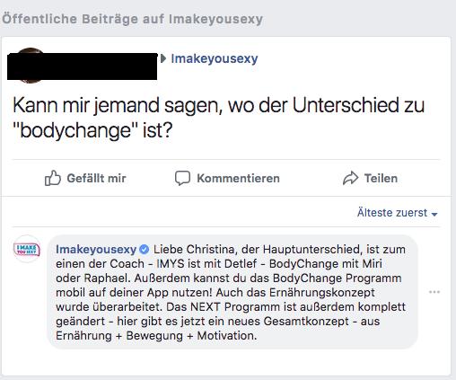 IMYS oder Bodychange auf Facebook